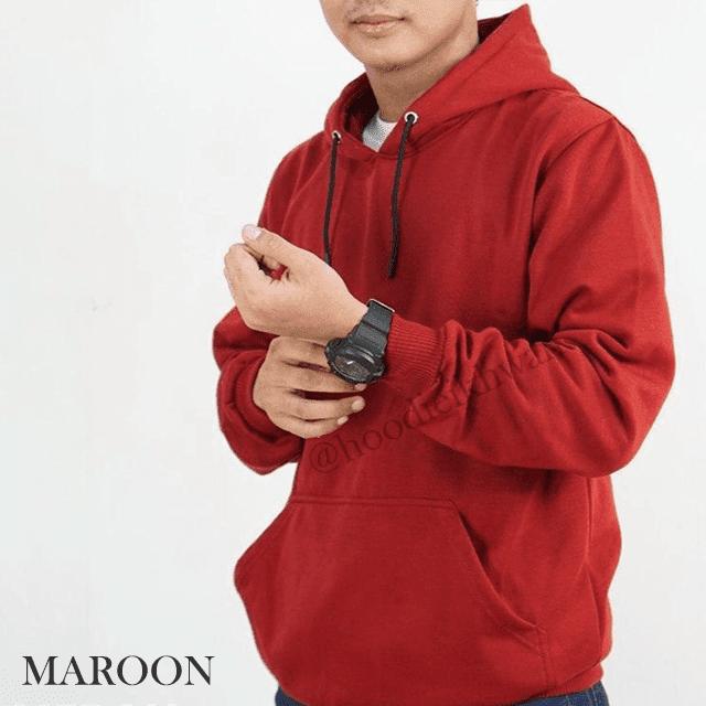 Hoodie Polos Merah Maroon