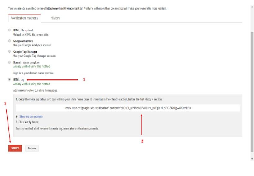 google webmaster verification method