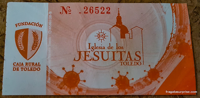 Ingresso para subir a torre da Igreja dos Jesuítas de Toledo, Espanha
