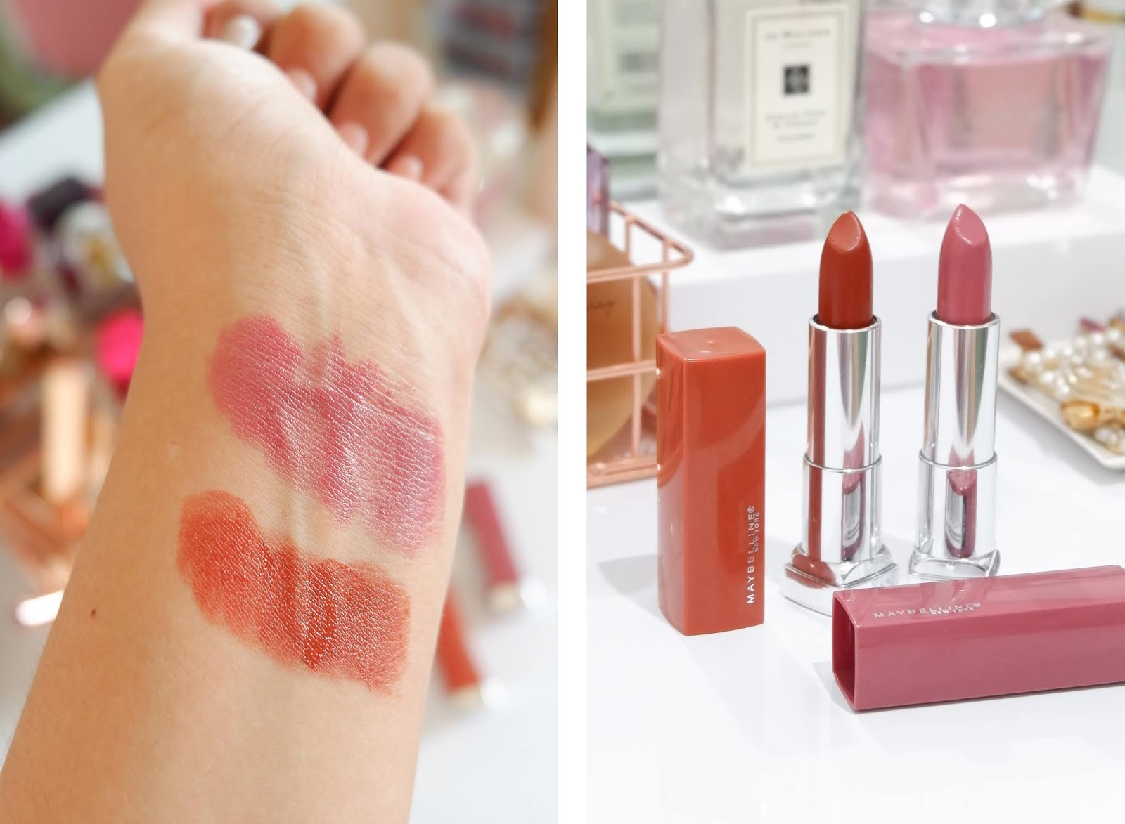 MAYBELLINE: COLOR SENSATION MADE FOR ALL LIPSTICK REVIEW (PINK FOR ME & SPICE FOR ME)