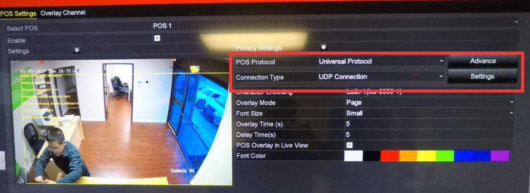 Display POS information on Hikvision NVR with RS232 to Ethernet Server