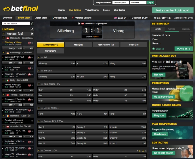 Betfinal Live Betting Screen