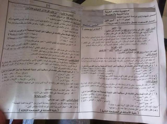 امتحان اللغة العربية للثانوية العامة نظام حديث 2019 بالاضافة الي الاجابة النموذجية 11