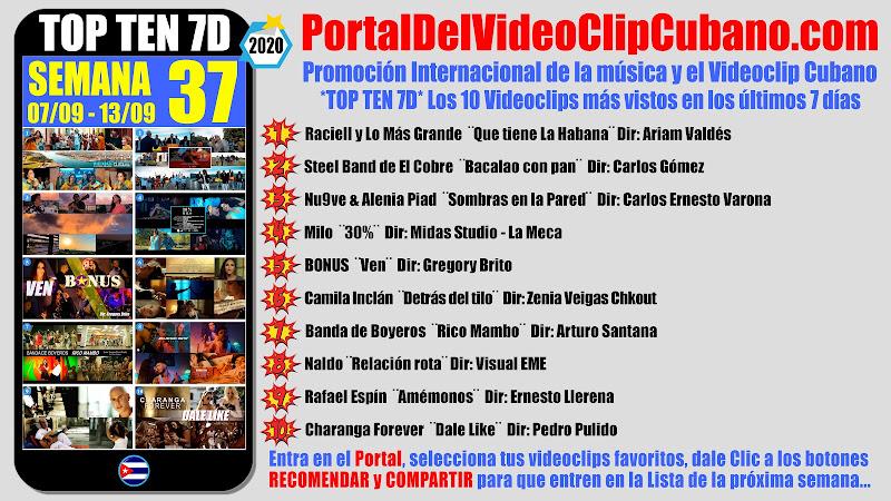 Artistas ganadores del * TOP TEN 7D * con los 10 Videoclips más vistos en la semana 37 (07/09 a 13/09 de 2020) en el Portal Del Vídeo Clip Cubano