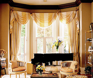 New home interior design bay and bow window treatment ideas - Bay window decorating ideas ...