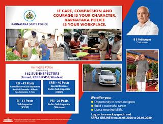 Karnataka State Police Dept Sub Inspector Civil KSISF, Armed, KSRP, Wireless, SI(Male Female) Recruitment 2020 PSI Govt Jobs Online, Physical Tests