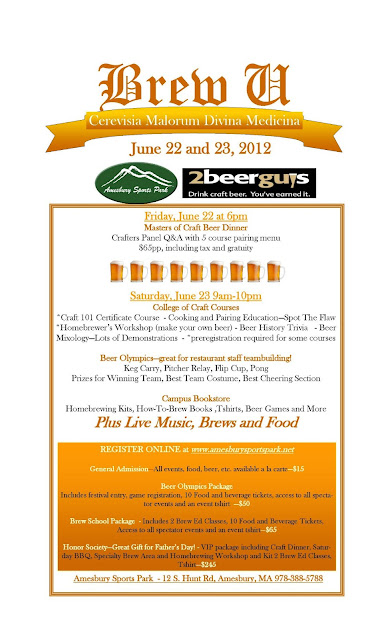 Amesbury Sports Park and Merrimack Valley Distributing Brew U Festival Poster