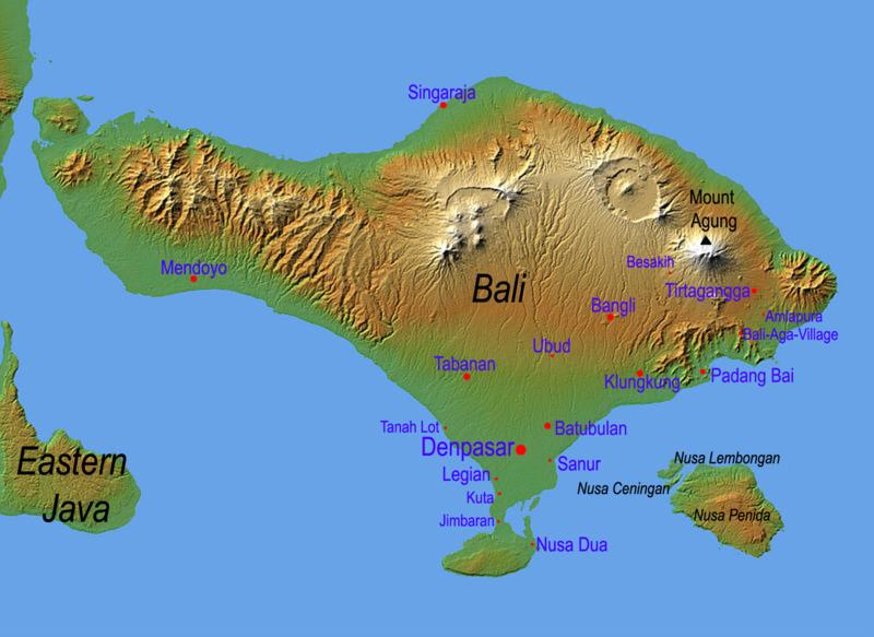 Indonesien Karte Physisch.Physische Landkarte Von Bali Indonesien Weltatlas