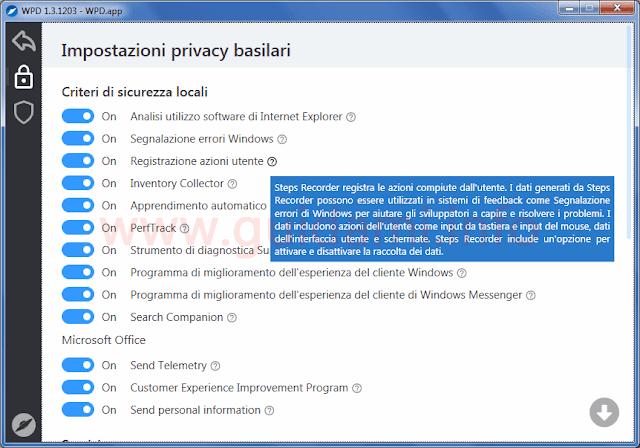 WPD lista impostazioni privacy Windows da disattivare