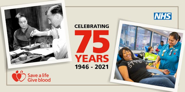 75 years of NHS Blood Donation images of then and now blood being taken from smiling patients