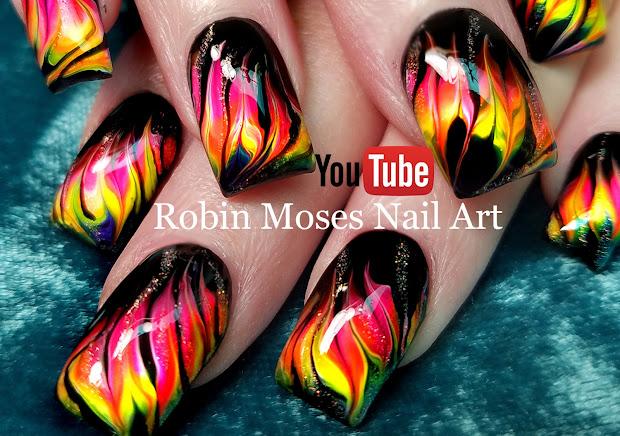 nail art robin moses neon water
