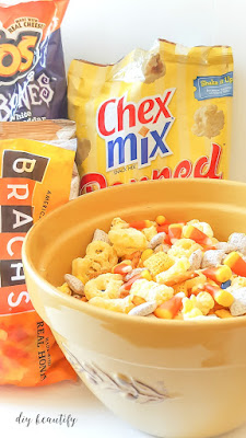 Your family will gobble up this sweet and salty snack mix, perfect for Halloween! Get the recipe at diy beautify.