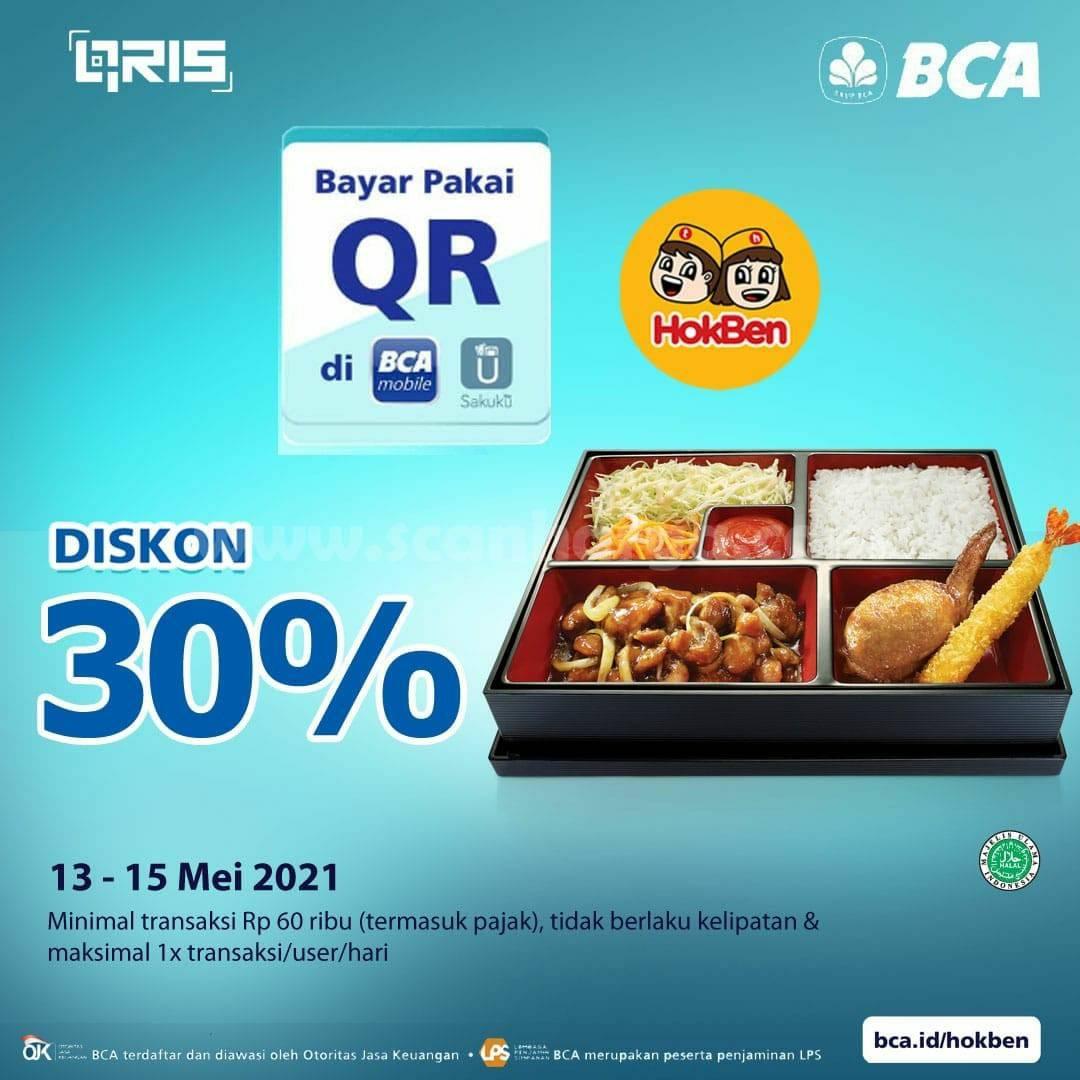 Promo HOKBEN DISKON 30% untuk transaksi dengan Qris BCA Mobile