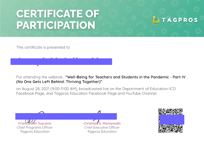 Tagpros April 28 Session | Certificate of Participation Now Ready for Download!