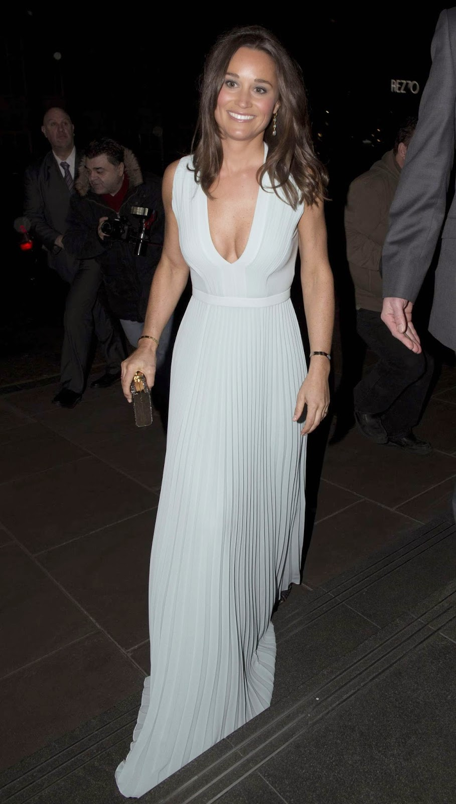 Pippa Middleton in a plunging Hugo Boss dress at the ParaSnowBall in London