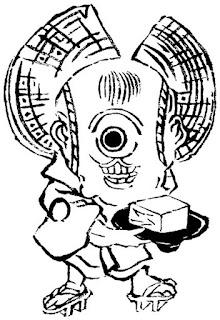 勝川春亭画『大時代唐土化物』一つ目の豆腐小僧