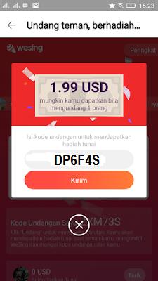 Cara Mendapatkan Uang Paypal dari Aplikasi Wesing Android