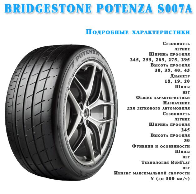 Характеристика шин BRIDGESTONE POTENZA S007A