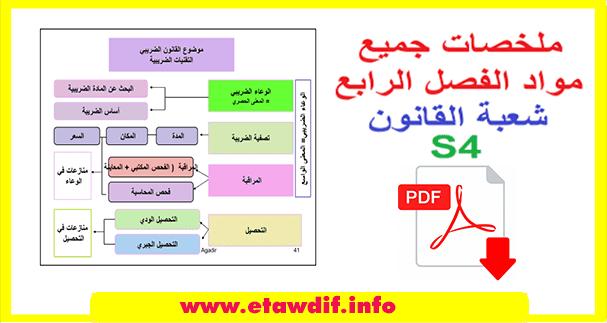 ملخصات جميع مواد الفصل الرابع s4 شعبة القانون
