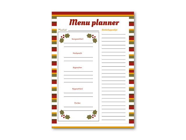 menu planner Nederlands boodschappenlijst