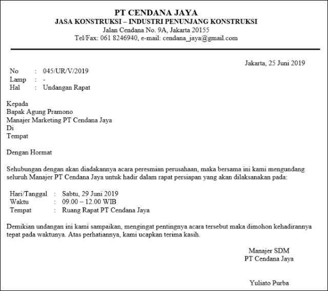 Contoh Surat Dinas Perusahaan (via: nesabamedia.com)