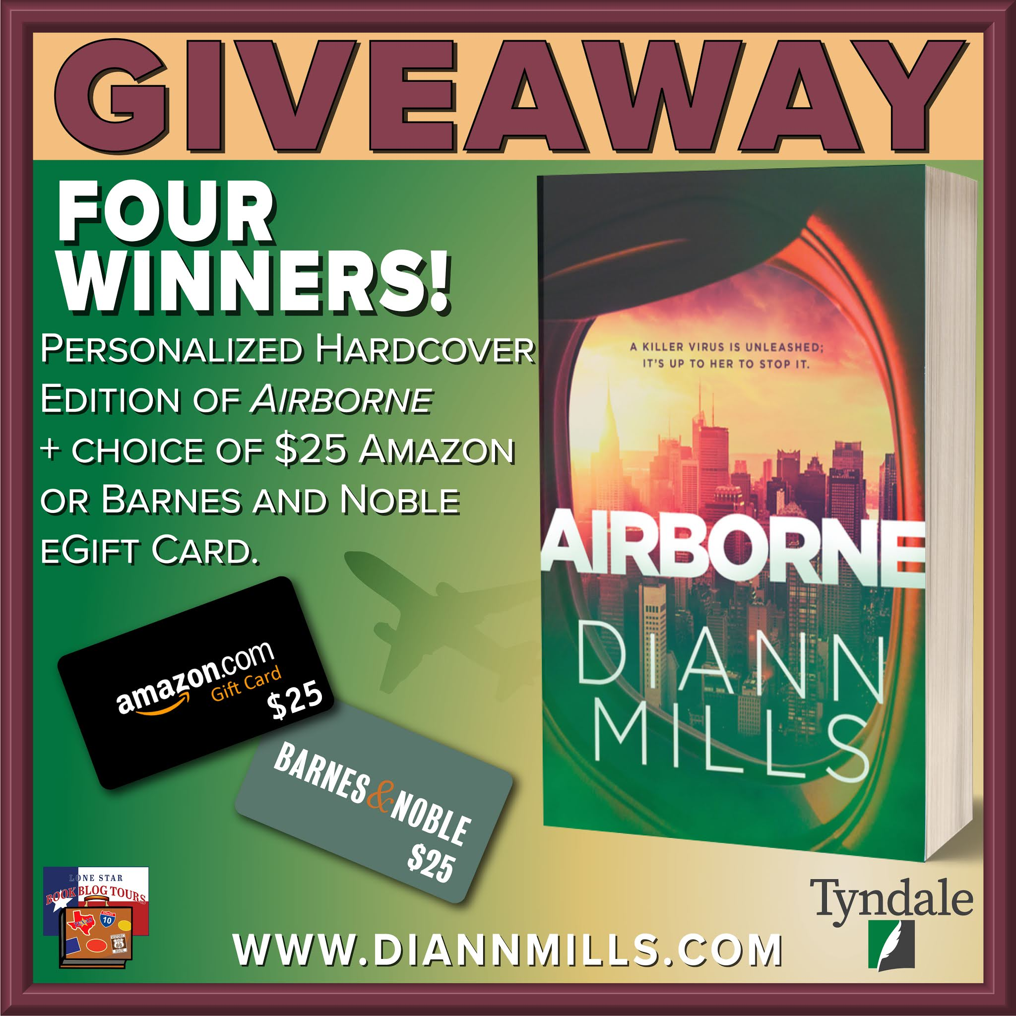 Airborne tour giveaway graphic. Prizes to be awarded precede this image in the post text.