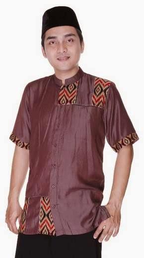 Contoh desain baju koko batik muslim modis