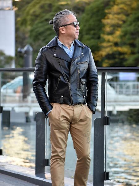 ライダースジャケット 着こなし 40代 メンズ