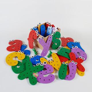 Menjahit Huruf Kecil New Mainan Kayuku Agdia Toys