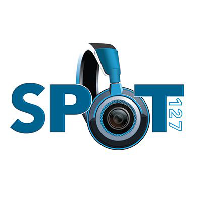 "SPOT 127 logo. Image of headphones serves as the ""o"" in spot"