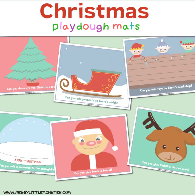 Christmas playdough mat activities for kids