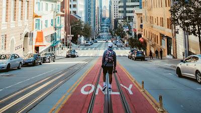 HD wallpaper lonely man, city, street, street, buildings, cars