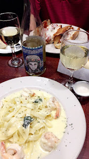 Wine Funk Zone White Blend wine and Shrimp Alfredo | brazenandbrunette.com