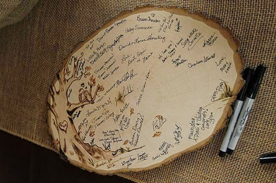 fall garden Unique rustic Wedding Guest Book tree wood