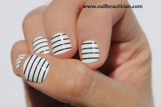 black and white strips nail art