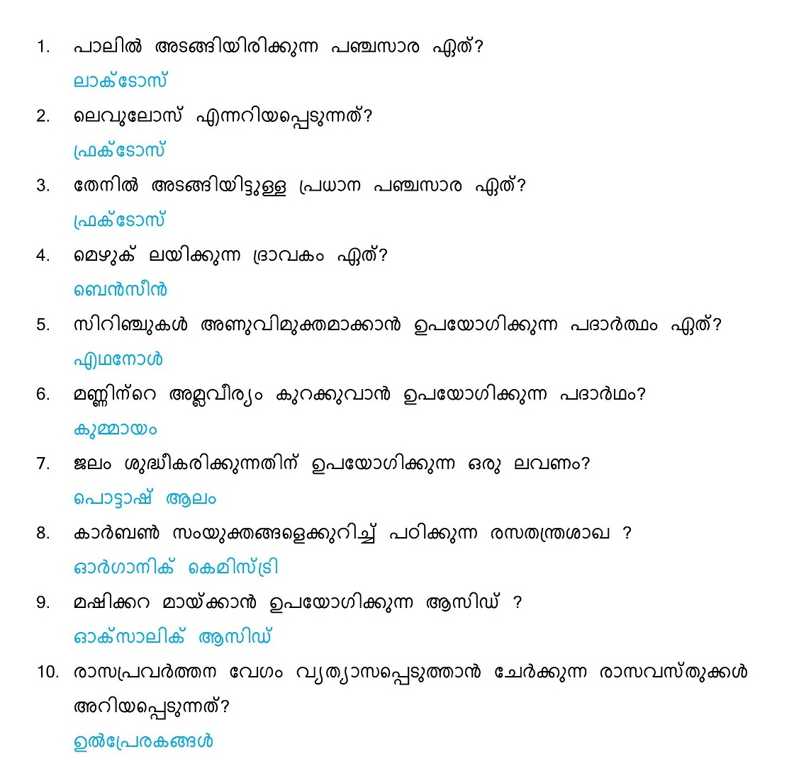 General Science Questions And Answers Malayalam