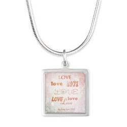 Love Light Silver Square Necklace