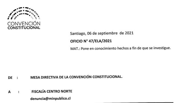 Mesa Directiva de la Convención denuncia a Rodrigo Rojas Vade ante la Fiscalía