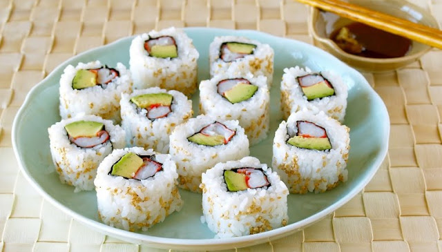 Sushi Rice and California Rolls #sushi #japanese