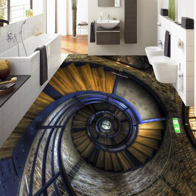 beautiful 3d art for floor for bathroom