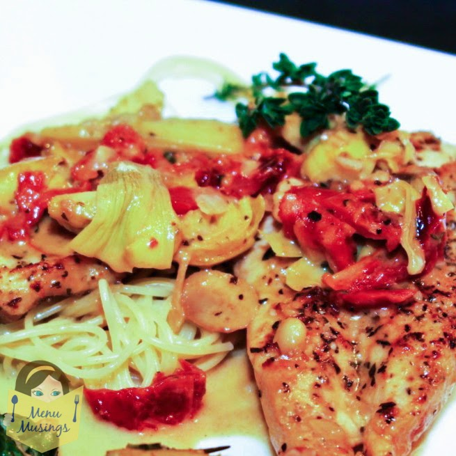 Chicken with Creamed Sherry Artichoke Sauce @ menumusings.com
