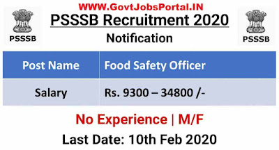 Punjab SSSB Food Safety Officer Recruitment 2020