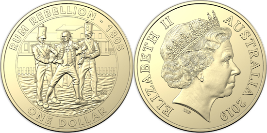 Australia 1 dollar 2019 - Mutiny and Rebellion - The Rum Rebellion