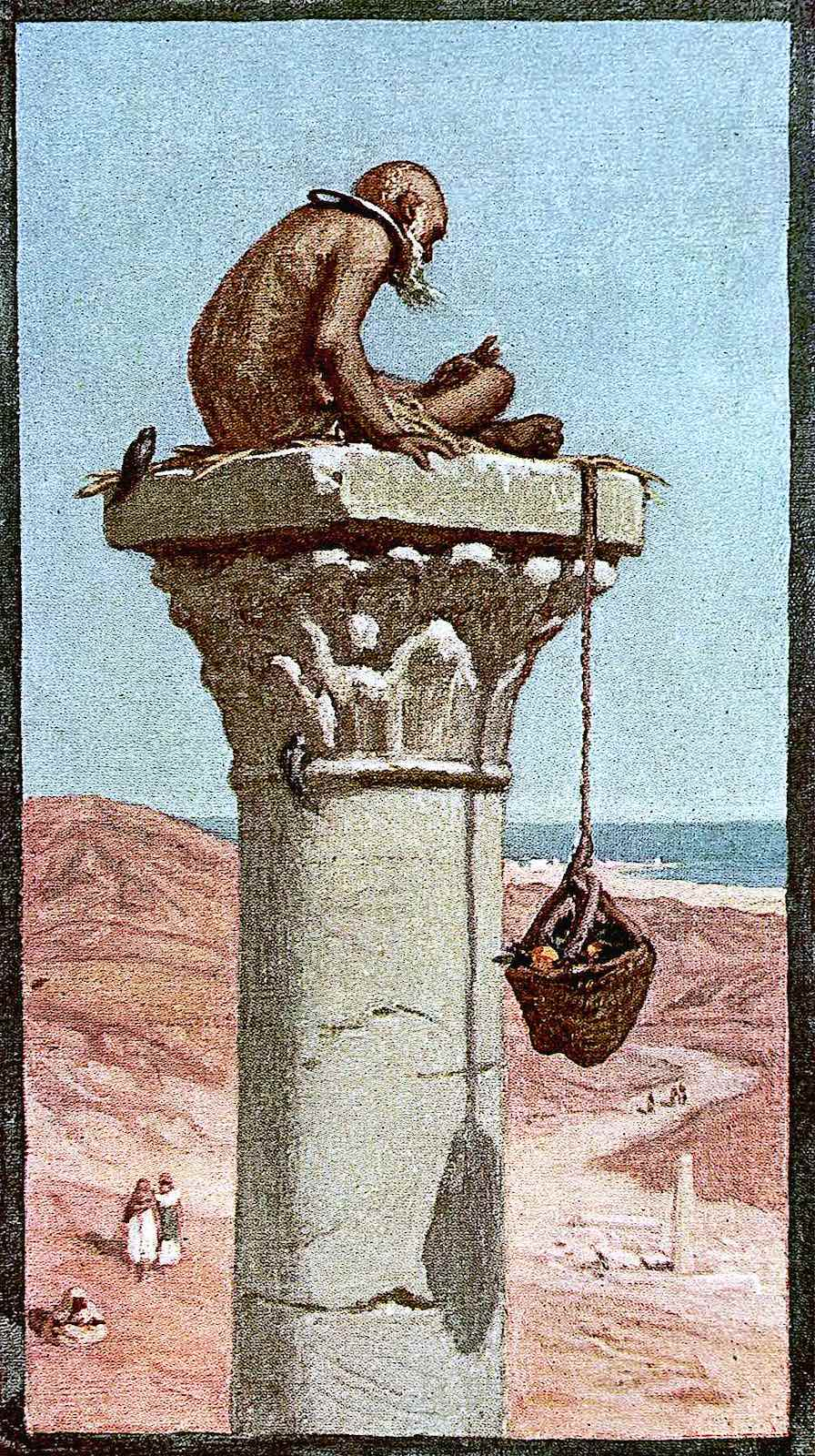Elihu Vedder, a prisoner chained to the top of a stone pillar