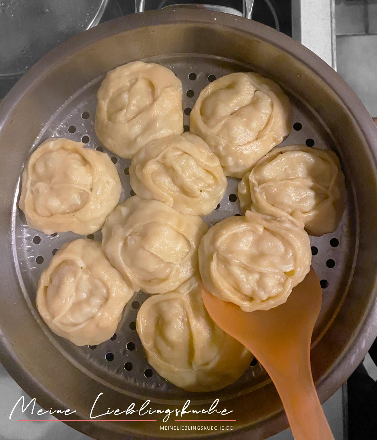 russische Manty mit Kartoffelfüllung gedämpft