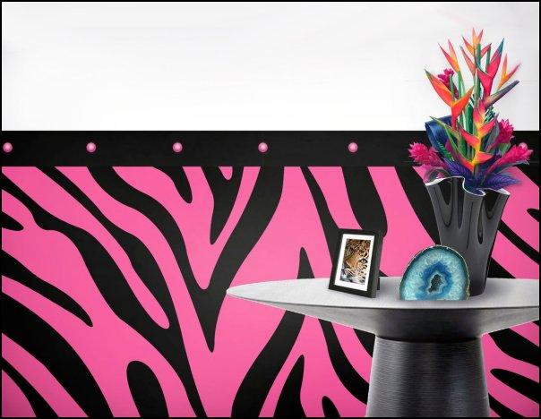 Hot Pink Zebra Pattern Peel and Stick Wallcovering