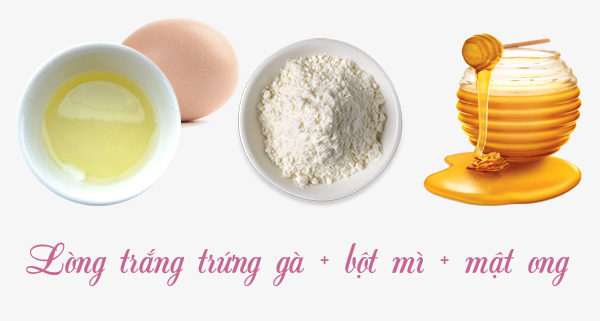 Mặt nạ lòng trắng trứng gà, bột mì và mật ong