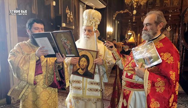 Ο Μητροπολίτης Αργολίδας Νεκτάριος στην εορτή της Ορθοδοξίας στον Καθεδρικό Ι. Ν. Αγίου Πέτρου στο Άργος