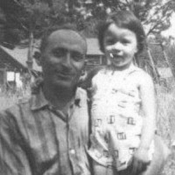 a photo of my dad and I as a child in black and white
