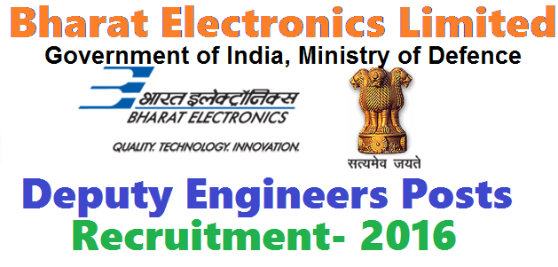 BEL(Bharath Electronics Limited) Deputy Engineer Posts Recruitment -2016|Government of India,Ministry of Defence Bharat Electronics Limited, a Navaratna and premier professional Electronics Company requires outstanding Engineers with experience for Solar Power & Systems (SPS) of Components SBU of BEL Bangalore unit on fixed tenure basis for 3 years./2016/05/bel-bharath-electronics-limited-deputy-engineer-posts-recruitment-2016.html